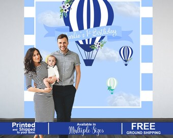 Up up and Away Party Backdrop, Hot Air Balloons Personalized Photo Backdrop, 1st Birthday Party Backdrop, Blue Hot Air Balloon Backdrop