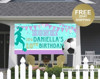 Birthday Yard Sign | Girls Soccer Birthday Banner | Soccer Banner | Honk it's my Birthday Banner | Lawn Banner | Birthday Banner