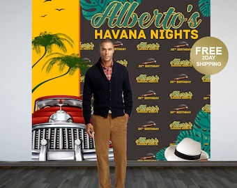 30th Birthday Personalized Photo Backdrop | Havana Nights Photo Backdrop | Cuban Birthday Photo Booth Backdrop | Step and Repeat Backdrop