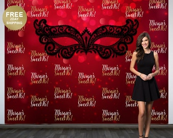 Sweet 16 Personalized Photo Backdrop | Masquerade Red Birthday Photo Backdrop | Step and Repeat Photo Backdrop | Masquerade Ball Backdrop