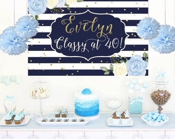 Birthday Floral Personalized Backdrop, Blue & White Stripes Birthday Cake Table Backdrop- Birthday Backdrop, Printed Backdrop, 40th Birthday