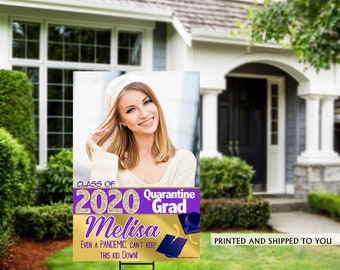 Class of 2020 Graduation Photo Yard Sign - Quarantine Grad Lawn Sign - Congrats Grad Yard Sign, Foam Board Sign, Graduation Yard Sign