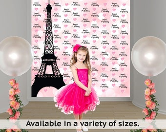Paris Photo Backdrop - Step and Repeat Eiffel Tower Backdrop - Birthday Photo Backdrop - Paris Backdrop - Custom Vinyl Printed Backdrop