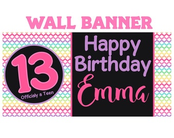 Happy 13th Birthday Photo Banner  ~ Personalized Party Banners - Rainbow Chevron Birthday Banner, Teenager Birthday Banner, Girls Banner