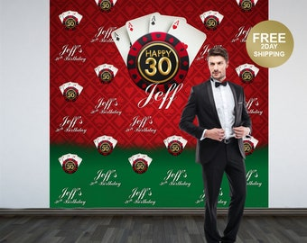 Casino Party Personalized Photo Backdrop | Casino Step and Repeat Photo Backdrop | Birthday Photo Backdrop | 30th Birthday Backdrop
