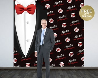 70th Birthday Personalized Photo Backdrop   Classic Man Photo Backdrop   60th Birthday Backdrop, Birthday Backdrop, Step and Repeat Backdrop