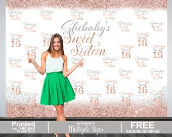 Sweet 16 Personalized Photo Backdrop | Rose Gold 16th Birthday Photo Backdrop | Step & Repeat Photo Backdrop, Silver Sweet 16 Photo Backdrop