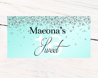 Sweet 16 Diamond Banner  ~ Aqua Birthday Personalized Party Banners - 18th Birthday Banner, 21st Birthday Banner, Printed Vinyl Banner
