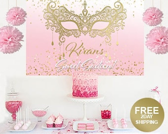 Masquerade Personalized Backdrop | Sweet Sixteen Cake Table Backdrop | Masquerade Mask Birthday Backdrop | Printed Backdrop | Sweet 16