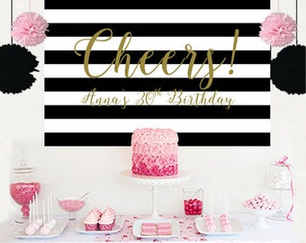 Cheers Personalized Backdrop - Bridal Shower Cake Table Backdrop, Black and White Stripes Birthday Backdrop, 30th Birthday Backdrop, Printed