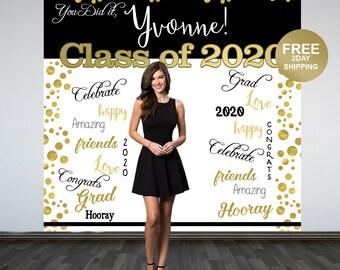 Graduation Photo Backdrop | Congrats Grad Personalized Photo Backdrop | Class of 2020 Backdrop | Photo Booth Backdrop | Printed Backdrop