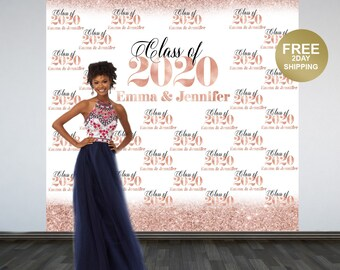 Rose Gold Class of 2020 Personalized Photo Backdrop - Party Photo Backdrop, Printed Vinyl Backdrop, Graduation Photo Booth Backdrop
