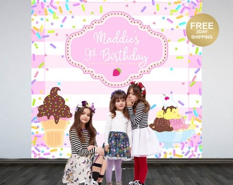 Ice Cream Sprinkles Personalized Photo Backdrop | 1st Birthday Photo Backdrop | Printed Photo Booth Backdrop | Sprinkles Birthday Backdrop