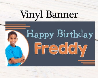 Happy Birthday Boys Banner ~ Personalized Party Banners - Photo Custom Vinyl Banner, Photo Banner, Printed Custom Banner, 13th Birthday
