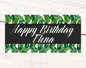 Birthday Greenery Banner | Personalized Birthday Banner | Printed Vinyl Banner | Custom Banner | Summer Pool Party Banner |  Sweet 16 Banner