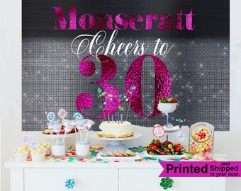 Cheers to 30 Backdrop - Birthday Photo Backdrop - 30th Birthday Backdrop - Custom Backdrop, Printed Backdrop, Fushia and Black Backdrop
