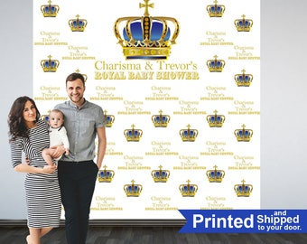 Royal Baby Shower Photo Backdrop - First Birthday Prince Step & Repeat Photo Backdrop | Photo Booth Personalized Backdrop, Printed Backdrop