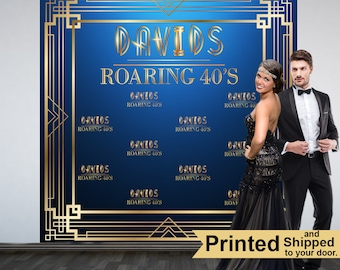 Roaring 20's Personalized Photo Backdrop -Retro Photo Backdrop- Birthday Photo Booth Backdrop, Speakeasy Photo Backdrop, Gatsby Backdrop