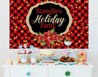 Holiday Party Personalize Backdrop, Holiday Cake Table Backdrop - Christmas Photo Backdrop, Holiday Flannel Party Backdrop, Printed Backdrop
