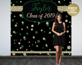 Graduation Photo Backdrop | Congrats Grad Personalized Photo Backdrop | Class of 2019 Photo Backdrop |  Photo Booth Printed Backdrop