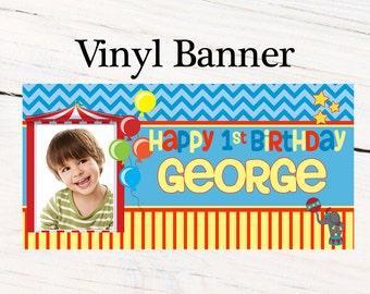 Curious Happy Birthday Banner ~ Personalized Monkey Photo Party Banners - Photo Backdrop - Carnival Birthday Banner