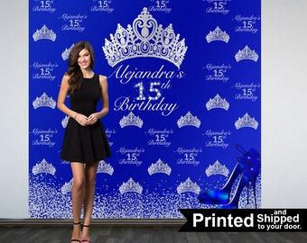 Royal Princess Personalized Photo Backdrop, 15th Birthday Party Backdrop- Diamonds & Heels Photo Backdrop, 16th Birthday Printed Backdrop
