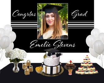 Graduation Elegancce Photo Personalize Backdrop - Congrats Grad Cake Table Backdrop Birthday- Class of 2018 Photo Backdrop