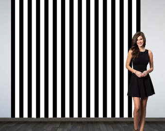 Black and White Stripes Party Personalized Photo Backdrop -Vertical Stripes Photo Backdrop- Birthday Photo Booth Backdrop