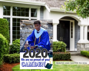 Class of 2020 Graduation Photo Yard Sign | Grad Party Welcome Sign | Welcome Sign Congrats | Blue Graduation Yard Sign | Congrats Grad Sign