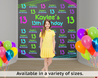 Neon Party Personalized Photo Backdrop - Birthday Photo Backdrop - 13th Birthday Photo Backdrop - Step and Repeat Backdrop, Printed Backdrop