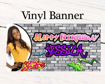 Happy Birthday Graffiti Banner ~ 90's Birthday Personalized Party Banners - Photo Custom Vinyl Banner, Custom Birthday Banner