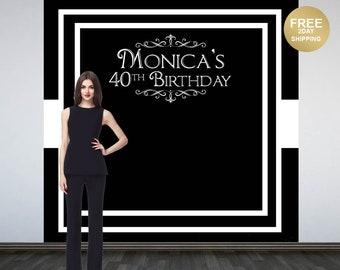 Grand Elegance Photo Backdrop | Black & White Photo Backdrop | 40th Birthday Backdrop | Printed Personalized Backdrop | Birthday Backdrop