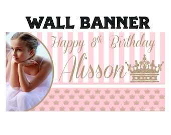 Princess Crown Birthday Banner ~ Personalized Party Banners, Photo First Birthday Banner, Royal Princess Banner, Printed Banner