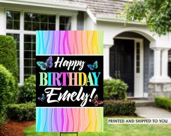 Birthday Yard Sign | Quarantine Birthday Sign | Birthday Yard Sign | Rainbow Birthday Signs | Birthday Yard Sign, Happy Birthday Lawn Sign