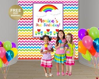 Rainbow Birthday Photo Backdrop | Birthday Backdrop | Rainbow Backdrop | Party Backdrop | Printed Backdrop | Photo Booth Backdrop