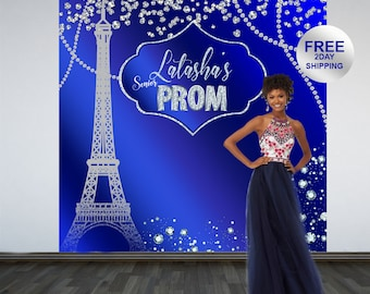 Prom Send Off Personalized Photo Backdrop | Prom 2K19 Photo Backdrop | Effiel Tower Photo Backdrop | Paris Photo Backdrop | Senior Prom