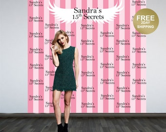 Pink Stripes Photo Backdrop | 15th Birthday Photo Backdrop | Sweet 16th Photo Backdrop | Angel Wings Backdrop | Birthday Backdrop | Printed