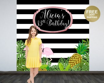 Tropical Party Personalized Photo Backdrop | Flamingo Photo Backdrop | Summer Sparkle Birthday Party Backdrop | Pineapple Birthday Backdrop