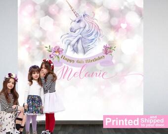 Unicorn Personalized Photo Backdrop - Birthday Photo Backdrop- First Birthday Photo Backdrop - Printed Photo Booth Backdrop, Vinyl Backdrop