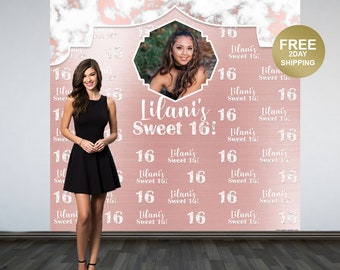 Marble Sweet 16 Personalized Photo Backdrop   Rose Gold Photo Backdrop   16th Birthday Backdrop   Printed Photo Booth Backdrop   Backdrop