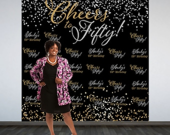 Cheers to Fifty Personalized Photo Backdrop -Silver and Gold Sparkle Photo Booth Backdrop- Milestone Birthday- Party  Backdrop - Custom