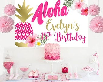 Aloha Summer Luau Personalized Backdrop - Birthday Cake Table Backdrop - Hibiscus Photo Backdrop, Pineapple Backdrop, Birthday Backdrop