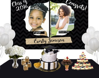 Graduation then and now Photo Personalized Backdrop - Congrats Grad Cake Table Backdrop - Class of 2019 Photo Backdrop, Graduation Backdrop