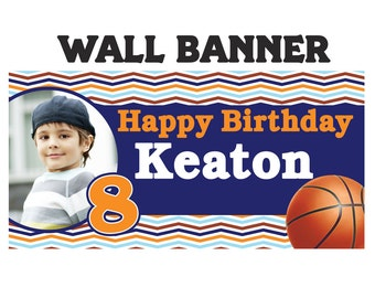 Basketball Party Banner ~ Sports Banner - Basketball Birthday Banner - Vinyl Bnner - Printed Banner - Kids Birthday Banner