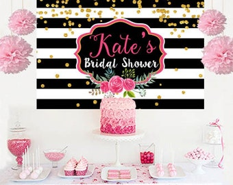 Bridal Shower Personalized Backdrop - Baby Shower Cake Table Backdrop- Black and White Stripes Birthday, Custom Vinyl Printed Backdrop