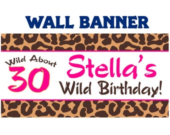 Happy 40th Birthday Banner  ~ Personalized Party Cougar Banners - Animal Print Banners - Printed Banner - 30th Birthday Banner