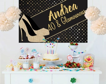High Heel Personalized Photo Backdrop - Glamourous Birthday Cake Table Backdrop- Birthday Backdrop, 40 and Glamourous Backdrop, Printed
