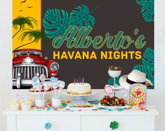 30th Birthday Personalized Party Backdrop - Birthday Photo Backdrop - Havana Nights Backdrop, Printed Vinyl Backdrop, Birthday Backdrop