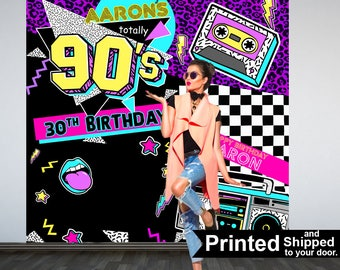 Back to the 90's Party Personalized Photo Backdrop, 90s Photo Backdrop- 1990's Birthday Photo Backdrop - Birthday Backdrop, Printed Backdrop