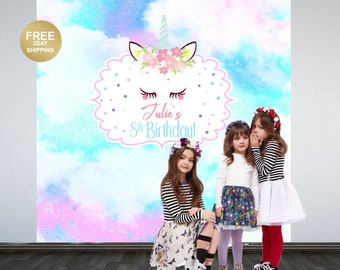 Fantasy Unicorn Personalized Photo Backdrop | Photo Backdrop | Unicorn Party Backdrop | Printed Photo Booth Backdrop | Printed Backdrop